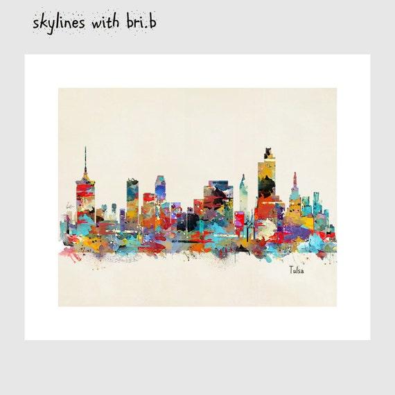 Home Decor Tulsa: Tulsa Skyline .colorful Modern Pop Art Skylines By Oxleystudio