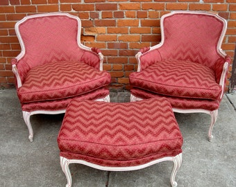 SOLD 1960's-70's Reupholstered Vintage Chic Bohemian Painted French Bergere Chairs with Ottoman