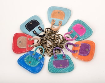 Colorful leather Keychain, womens Key Ring, gifts under 25, gifts for her