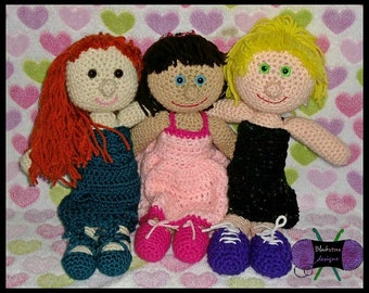 Polly and the Dolls PDF crochet PATTERN ONLY - Includes dresses and shoes - Doll, toy