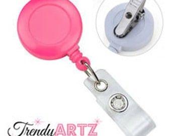 10 Pink Retractable Badge Holder Swivel Back Alligator Clip ID Card Reel; Set of 10 Pink Swivel Clip ID Reels; Color is Light Pink
