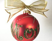 "Mom Hand Painted and Glitter Red Glass Ornament - Jody Designs - 3"" glass ball - Red"