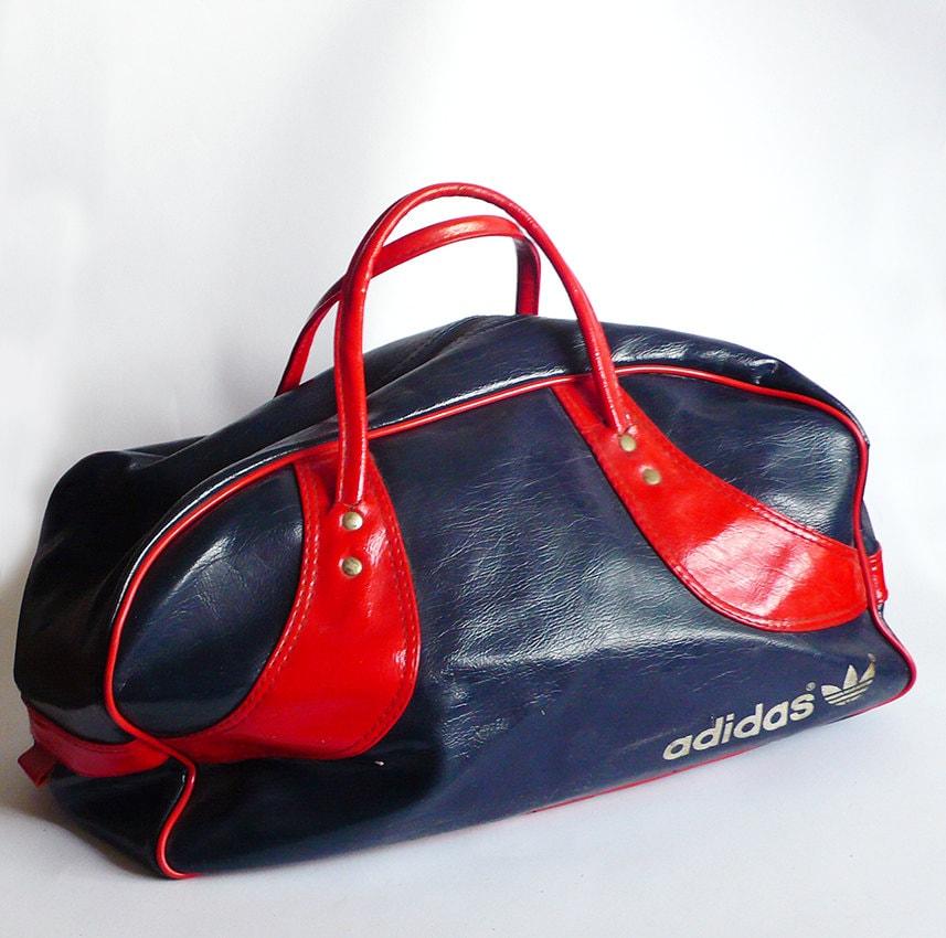 Vintage Retro 70s Blue Red Vinyl Adidas Gym Bag Sport Handle