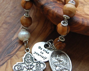 Gift For Godparents. Chaplet. Beaded Rosary.  Catholic Rosary Handmade.  Pocket Rosary. First communion Gift. Olive Wood Chaplet.