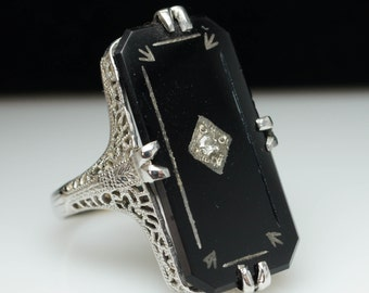 SALE - Vintage Antique Art Deco Diamond & Onyx Ring 14k White Gold - Size 7.25