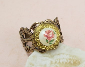 Pink Rose Locket Ring Poison Ring Adjustable Filigree Ring Shabby Chic Victorian