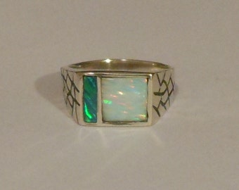 Sterling Silver Ring with Lab Grown Opal