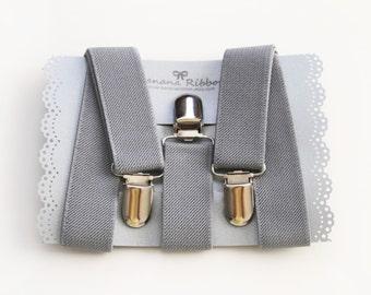 Gray elastic suspenders - Men's suspenders - Kids suspeders - Light grey suspender