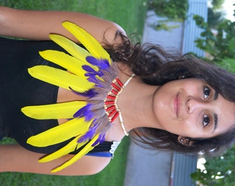 J18- Yellow and purple Feather Necklace
