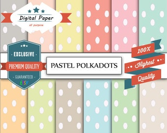 """Polkadots digital paper : """"PASTEL POLKADOTS"""" with baby polkadots patterns pastel backgrounds in light colors"""