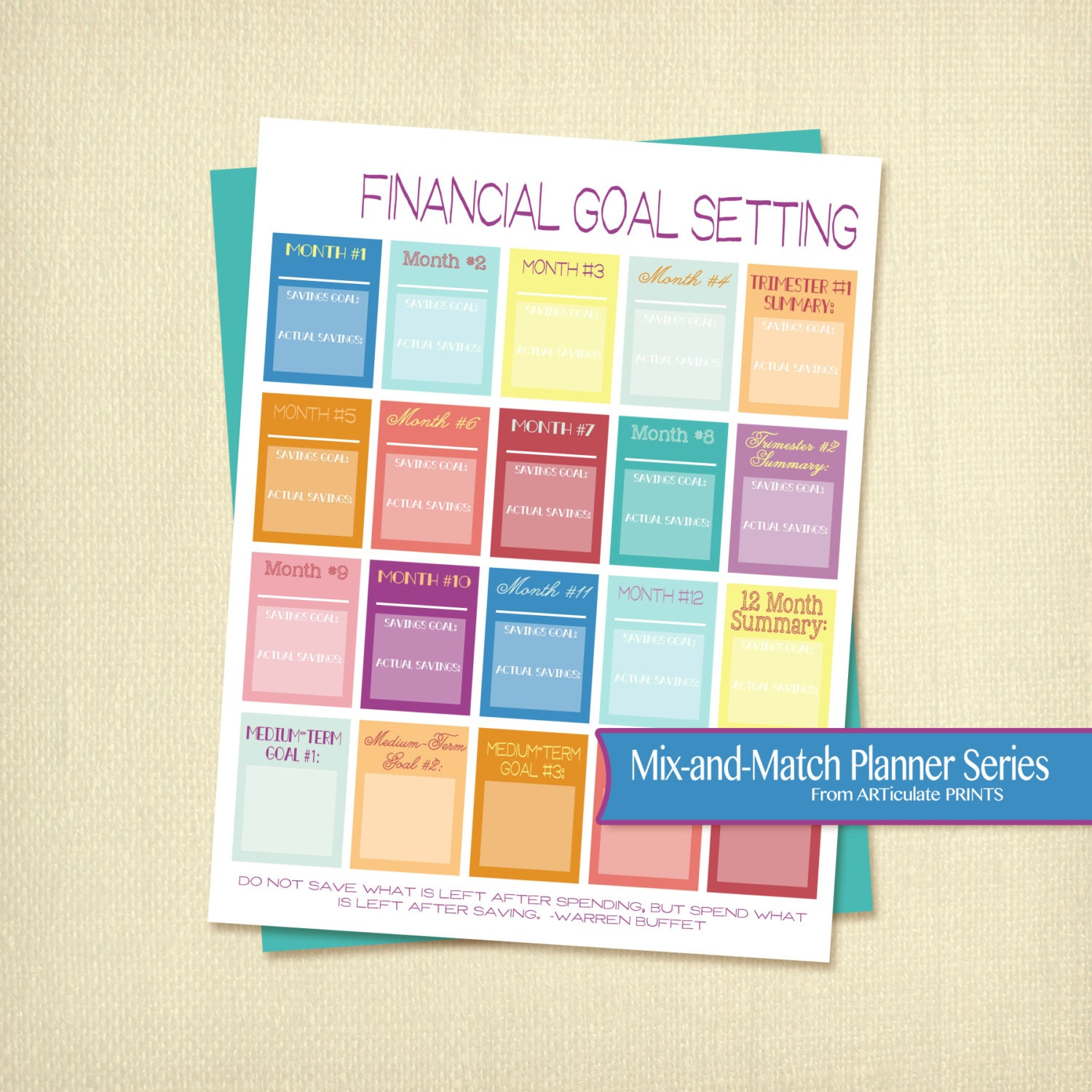 Financial Goals: Financial Goal Setting Instant Download Printable Budget Goal