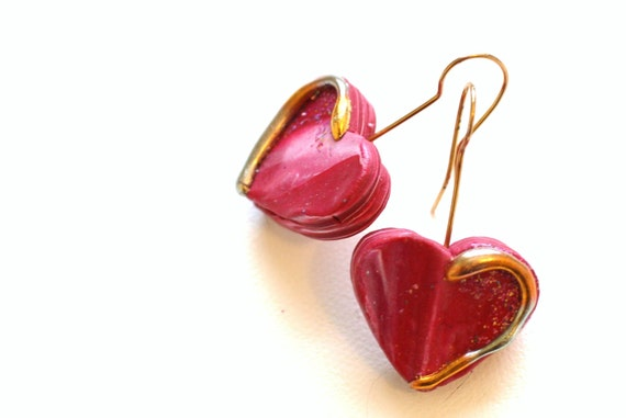 Womens Heart Drop Pierced Earrings, Hand Made from Polymer Clay, Gold Leaf, Gold Plated Earwires, Valentines Day Gift, Love, Jewelry