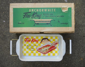 Fire King Ovenware with Twin Candles IOB.  VINTAGE Anchor Hocking Glass, In Box 1960s