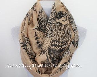 Eagle Scarf, Khaki Eagle Bird Infinity Scarf, Pashmina Like Bird Infinity Scarf, Christmas Gift, ,Women's Scarves, For Her, Fall Scarf