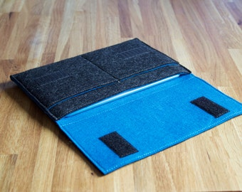 iPad Mini Case / iPad Mini Sleeve / iPad Mini Wallet - Choice of Outer and Inner Colours - 100% Wool Felt