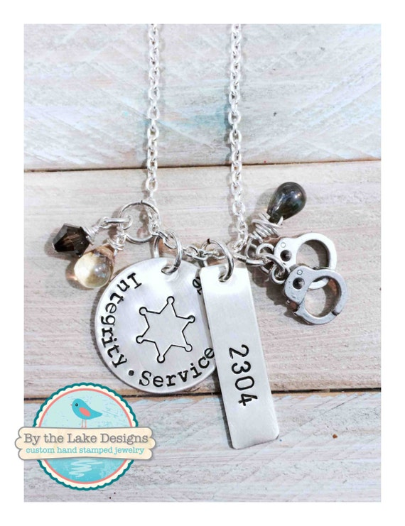Items similar to policeman sheriff hand stamped necklace for How to make hand stamped jewelry