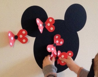 Pin the Bow on the Minnie Game - Minnie Mouse Inspired Game - with RED bows - Birthday Party - Party Game