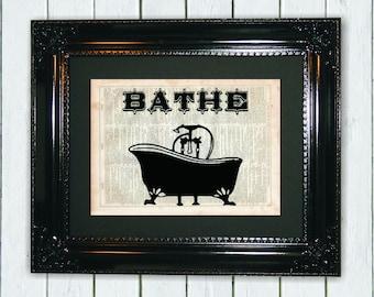 BATHE Bathroom Decor, Dictionary Art Print, Vintage Dictionary, Silhouette, Bathroom Decor, Wall Decor, Wall Hanging, Art Prints