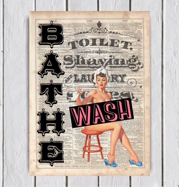 Bathe And Wash Pinup Bathroom Decor Dictionary Art Print Upcycled Book Art Dictionary