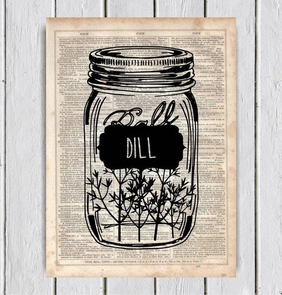 Mason Jar Kitchen Decor Set: Mason Jar Dill Kitchen Decor Dictionary Art Print Upcycled