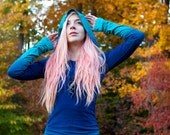 Hand Dyed - Ombre Turquoise and Blue - Long Hoodie Dress - Hoodie Dress - Hooded Dress - Ombre Dress - Ombre Hoodie - Hand Made - Yoga Dress