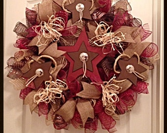 Western Star Deco Mesh Wreath/Rustic Star Deco Mesh Wreath/Cowboy and Cowgirl Wreath/Star Wreath