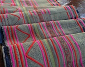 Vintage Hmong Brown Tribal Fabric Handmade Ethnic Batik Crafting Textile supplies