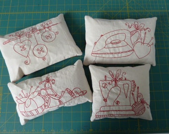 Redwork Embroidery Fabric Sewing Pattern Weights Set