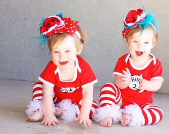 Thing 1 & Thing 2  over the top headbands, couture headband, over the top bow, baby headband, flower headband, twin headbands, red headband