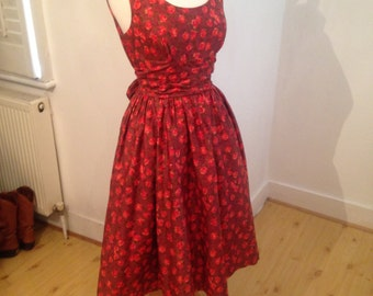 Stunning vintage 1950's Autumn rose fit and flare dress with matching bolero by Ascot Model