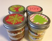 4 (8oz) Cupcakes In A Jar-Mason Jars-Christmas-Christmas Gifts-Happy Holidays-Fa La La-Reindeer-Pink-Red-Green-Tree-Snowflakes-Teacher Gift