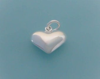 1 Sterling Silver Puffy Heart Charm / Pendant