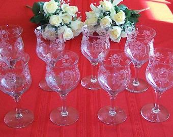 Eight Elegant Vintage Etched Glass Wine Goblets - 1923 Tiffin - Dolores Pattern