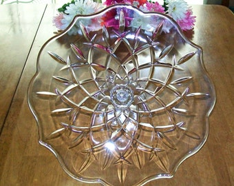 Reduced - Extra Large Oversize Pressed Glass Cake Stand