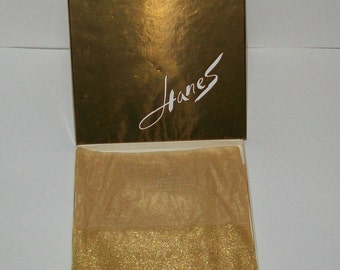 One Pair of Vintage Hanes Gold Shimmering Sparkling Jewelites Nylons in Original Box