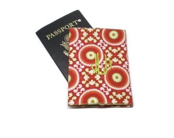 Red passport cover, monogrammed passport case, personalized passport cover, passport holder, traveler gift idea, personalized gift