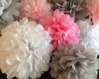 WEDDING BLISS // 20 Tissue Paper Pom Poms / wedding decorations / birthday / baby shower / anniversary / bridal shower