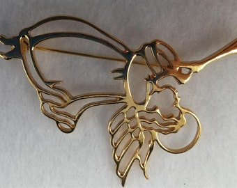 Gold Tone Trumpeting Angel Brooch.
