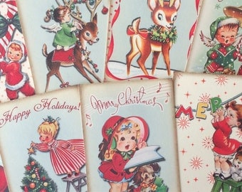 Christmas card toppers vintage retro style for scrapbooking tags and other craft projects