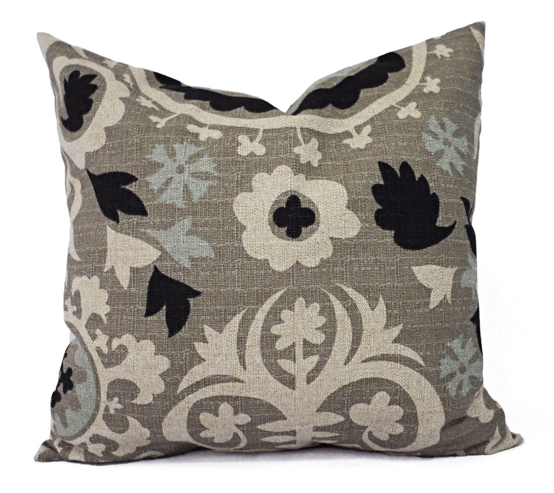 Throw Pillow Covers Cream : Two Throw Pillow Covers Black and Cream Suzani Pillow Covers