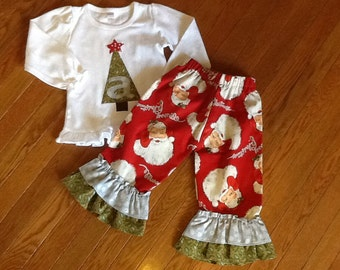 Vintage Santa Double Ruffle pants and tree top 12 18 2 3 4 5 6 7
