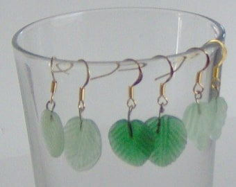 Handcraft  Earrings with Three Styles of Green Leaves, gold Plated French Hooks, Sugared Glass Green Leaf