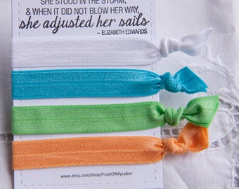 Set of Four Elastic Hair Ties - Spring is Here
