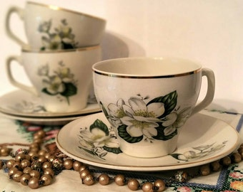 Vintage Wood and sons Alpine white Tea cup and Saucer set. 1940s English Earthenware. TS075