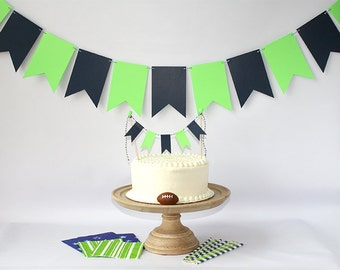 Seattle Seahawks Inspired 12th Man Wall Banner & Cake Bunting Pennant Flag Topper Birthday - Any team NFL, MLB, NBA, Nhl, any color!