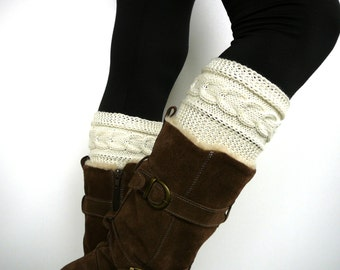 Cream knitted boot cuffs, boot socks, boot toppers, leg warmers