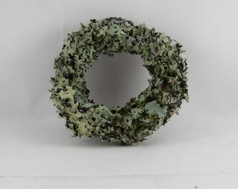 Wreath covered in lichen, perfect for a fairy garden