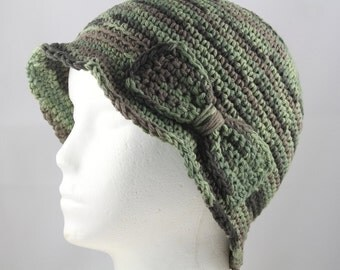 Cloche Hat in Greeen Ombre for Cancer Patients