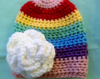 Pink Rainbow Hat with White Flower