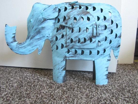 handpainted blue elephant metal candleholder home decor